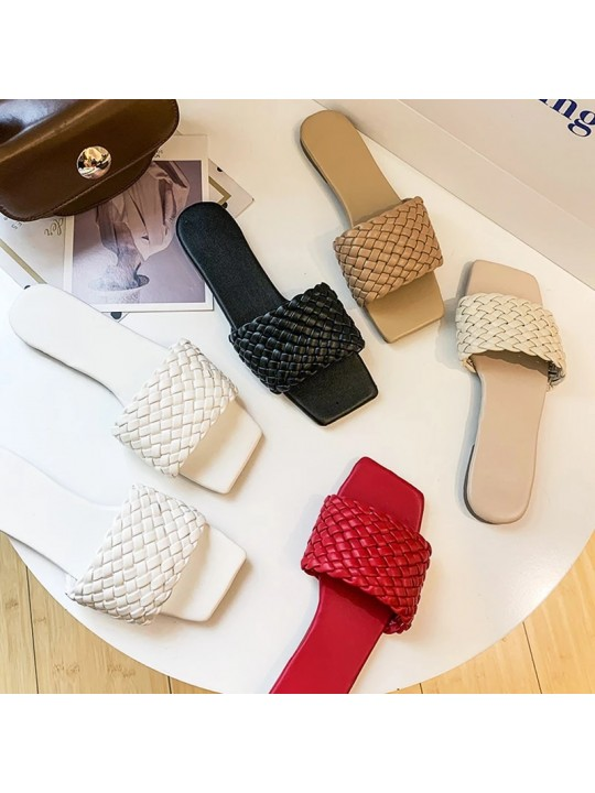 Fashion Temperament Braided Charm Open-toe Flat Slippers Set Foot Vacation Beach Sandals Casual Flip Flops Women Shoes