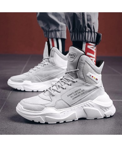 Suede Genuine Leather Fashion Winter Boots Men Shoes for Mens Ankle Rock Thick Sole Hip Hop Streetwear Male Sneakers Boot male