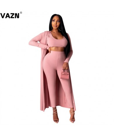 VAZN 2020 New Elegant Women Loose Two Piece Set O-neck Full Sleeve 3 Piece Set Women Full Pant Summer Sets
