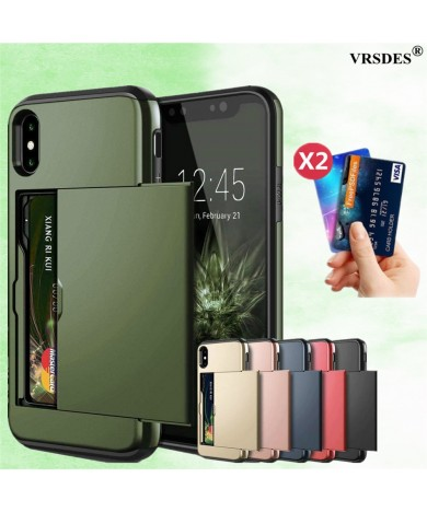 Armor Slide Card Case For iPhone 12 Mini 11 12 Pro Max XS Max XR X Card Slot Holder Cover For iPhone 8 7 6S Plus SE 2 2020 5 5S