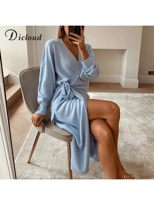 DICLOUD Long Women Knitted Wrap Dress Autumn Winter Oversize Elegant Day Dress Sexy V Neck Knitwear Robe 2020 Ladies Clothes