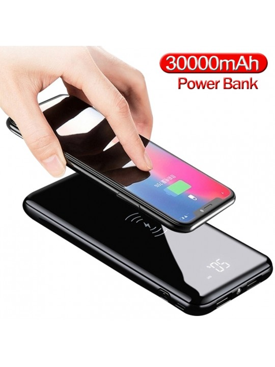 Power Bank 30000mAh QI Wireless Charger Portable Ultra-thin Large Capacity External Battery Charger Digital Display Power Bank