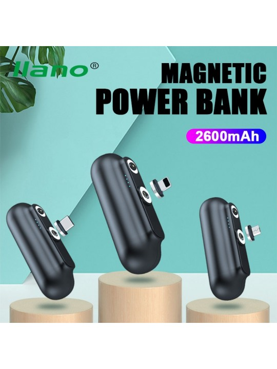 LLANO Magnetic Power Bank 2600mAh Mini Magnet Charger PoverBank For iPhone12 Emergency Portable External Battery PowerBank
